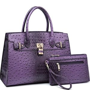 My Bag Lady Online Bags - Padlock Togo Vegan Leather Satchel Set